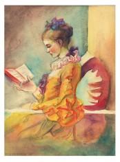 """Aquarelle et crayons de couleurs d'après """"La liseuse"""" de Fragonard"""