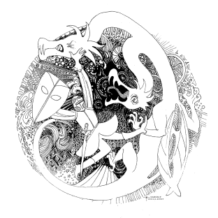 "Illustration jeunesse au feutre fin ""Le chevalier au Dragon"""