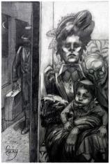 """Illustration au fusain et crayon pour un conte de Jean Lorrain """"La Main Gantée"""""""